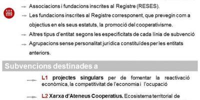 Subvencions per a projectes singulars, la xarxa d'ateneus cooperatius i projectes aracoop, per fomentar l'economia social i el cooperativisme